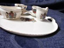 COLLECTABLE VINTAGE GEMMA CRESTED TRAY CUPS SAUCERS SUGAR BOWL MILK JUG BATH